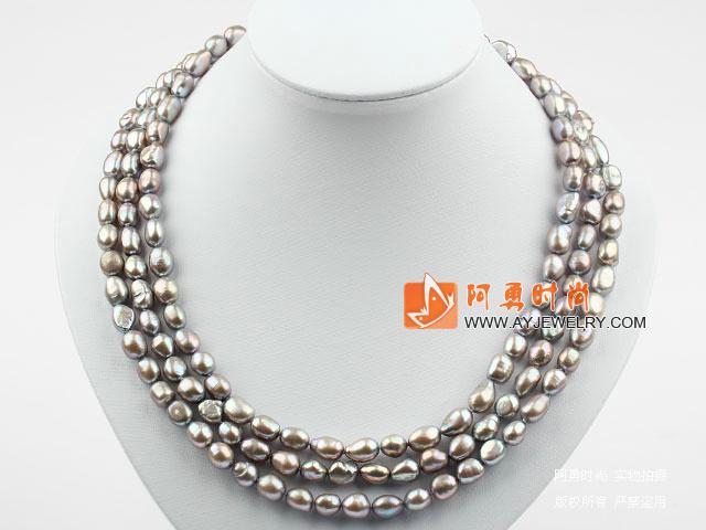 三排巴洛克珍珠贝壳花项链