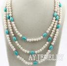 三排珍珠松石项链