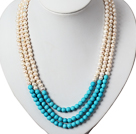 三层珍珠松石项链