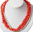 三层珊瑚珍珠项链