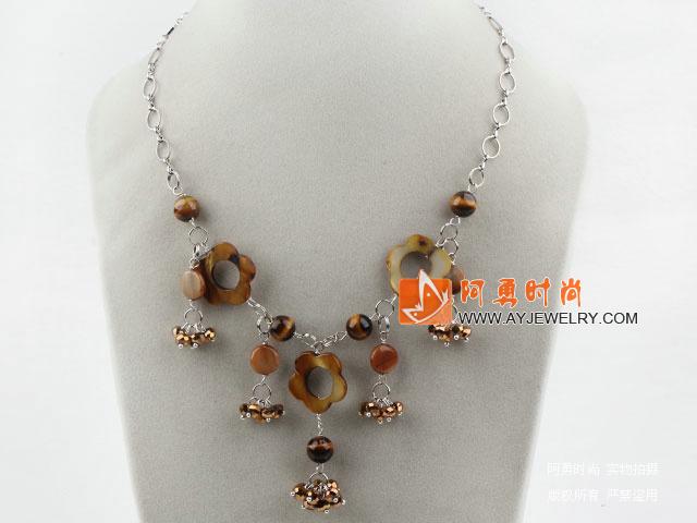 贝壳水晶虎眼石项链