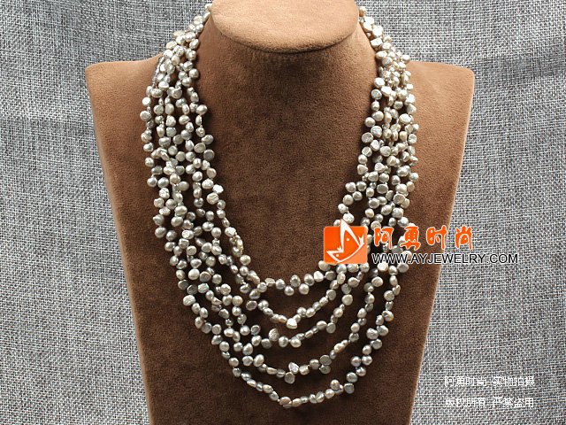 灰色五层再生珍珠水晶项链