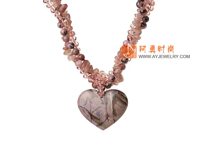 草莓晶 红纹石 人造水晶项链 多股扭扭桃心吊坠款