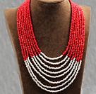 多层红白双色塑料珠米珠项链