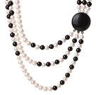 天然白色珍珠 黑玛瑙项链 三层款