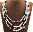 三层珍珠黑玛瑙贝壳花项链