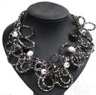 白珍珠茶晶灰黑色水晶圈圈项链