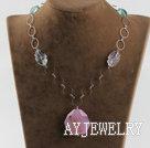 紫萤石结晶玛瑙项链