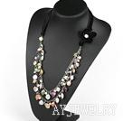 彩色纽扣珍珠项链