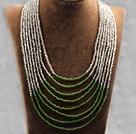 多层白绿双色塑料珠米珠项链