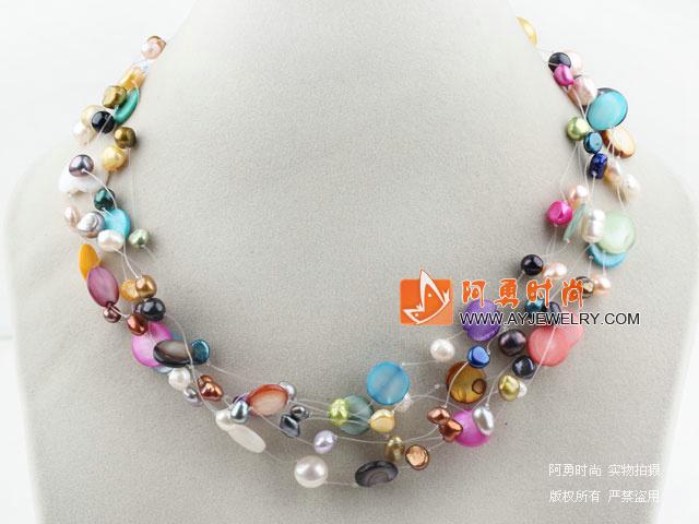 珍珠彩色贝壳项链