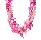 珍珠贝壳芙蓉石人造水晶项链 欧美流行 多股扭扭款