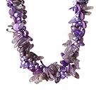 珍珠贝壳紫晶人造水晶项链 欧美流行 多股扭扭款
