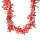 珍珠水晶贝壳西瓜水晶项链 欧美流行 多股扭扭款