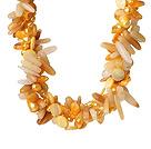 珍珠贝壳黄水晶人造水晶项链 欧美流行 多股扭扭款