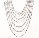 白珍珠 人造白水晶项链 多层礼服款