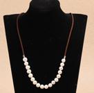 白色螺纹珍珠项链毛衣链 无结扣款