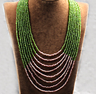 多层绿粉双色塑料珠米珠项链