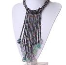 黑珍珠 萤石 印度玛瑙项链 流苏礼服款