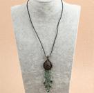 复古绿色水晶皮绳项链