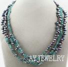 黑珍珠蓝晶石项链