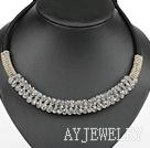 浅灰色水晶项链 随形珠民族绳款