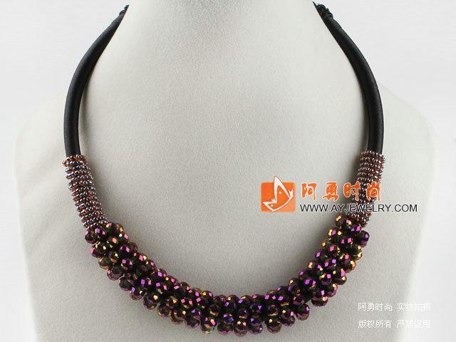 加彩紫红色水晶项链 随形珠民族绳款