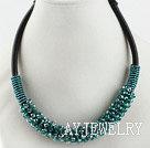 绿色水晶项链 随形珠民族绳款