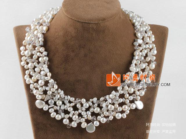 珍珠水晶白松石项链