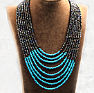 多层黑彩蓝双色塑料珠米珠项链