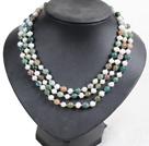 白珍珠印度玛瑙三层项链  配贝壳花扣