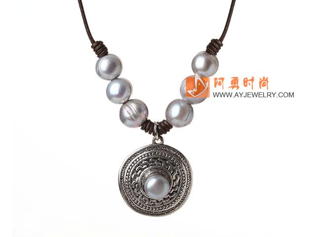 灰色珍珠项链 皮绳吊坠款