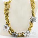 淡黄色珊瑚贝壳花项链