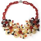 黑珍珠玛瑙贝壳花朵项链 编花款