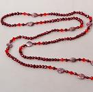 酒红色系列珍珠水晶长款项链