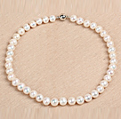 10-11mm亮光少纹白色珍珠项链