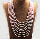 多层粉白双色塑料珠米珠项链