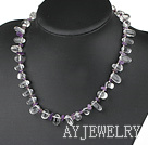 紫水晶白水晶项链
