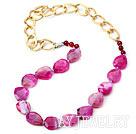 枚粉色巴西切角玛瑙项链(链子可拆装)