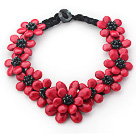 红色松石花朵项链 编花款