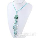 白珍珠亚马逊石项链