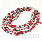 红珊瑚黑蝶贝项链