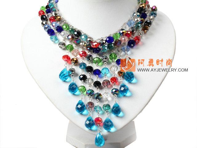 彩色水晶颈链 项链 可调节