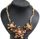 黄色珍珠橘色水晶花朵项链