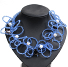 白珍珠茶晶蓝色水晶圈圈项链