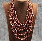 棕红色五层再生珍珠水晶项链