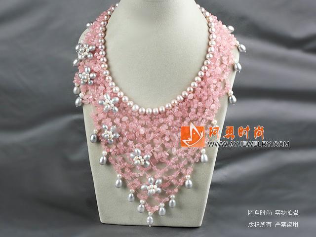 珍珠芙蓉石晚礼项链 礼服款