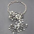 珍珠水晶贝壳花朵项链