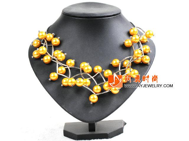 黄色贝壳珠时尚项链