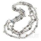闪光石珍珠水晶项链